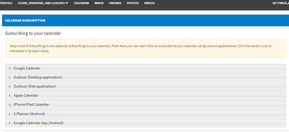 Calendar Subscription | TeamPages Answers
